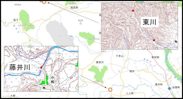 『藤井川・東川水質調査地図』の画像